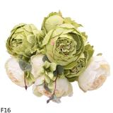 1bouquet 13Heads European Artificial Peony Flower Silk Fake Peonies With Leaf For DIY Wedding Birthday Party Decor Home Ornament