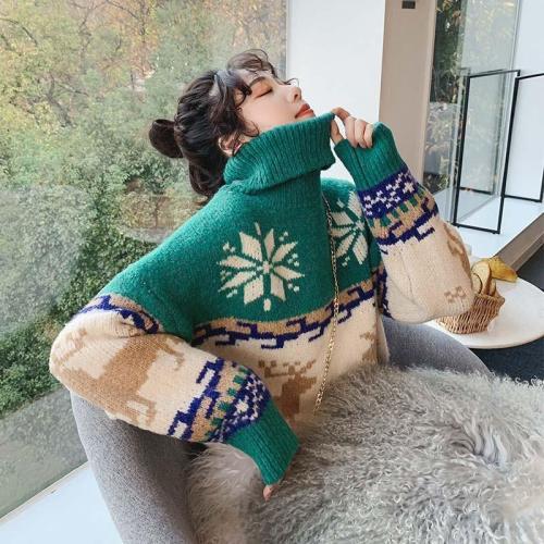 Turtleneck Colorblock Pattern Knitting Christmas Sweater