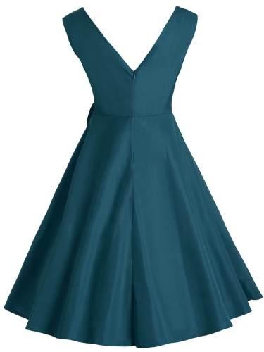 1950s Solid Bow Sleeveless Swing Dress