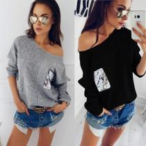 Bare Shoulder Shinning Sequins Long Batwing Sleeves Loose Women Sweater