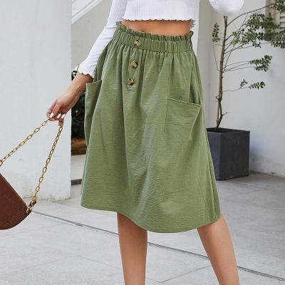 Women Skirts Korean Style Ladies High Waist Midi Knee Length Elegant Cotton Button A Line Skirt Female Pleated School Long Skirt