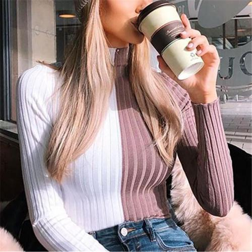 Color Block Stitching   Short Style High Neck Long Sleeve Knitted Sweater