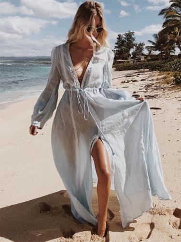 Split-joint Waisted Deep V-neck Maxi Dress