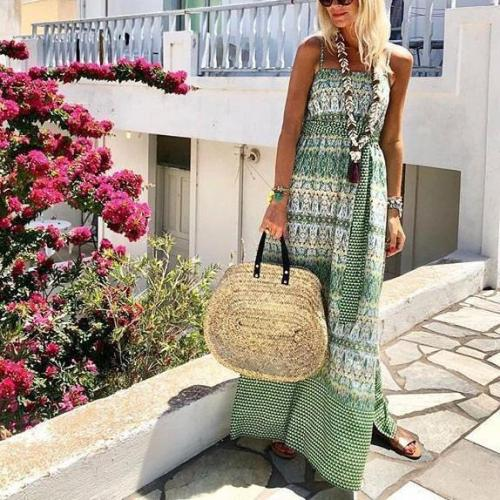 Fashion Flower Print Vacation Maxi Dress