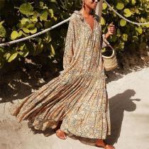 Fashion V-Neck Print Casual Maxi Dress