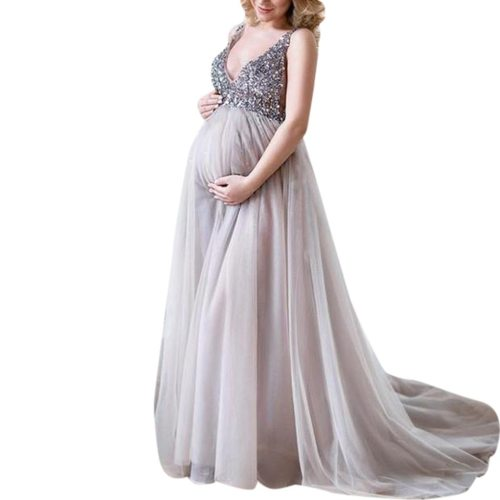 Summer New Fashion Sexy Women Pregnant Sling V Neck Sequin  Cocktail Long Maxi Prom Gown Daily Dress