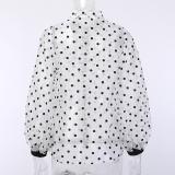 Lapel Polka Dot Button Lantern Sleeve Blouses