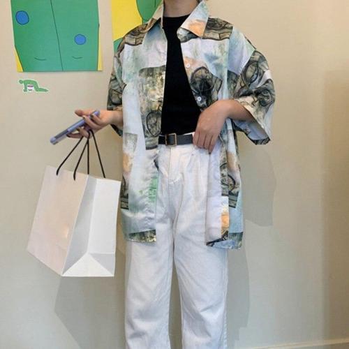 Summer Blouse Women Hawaii Print Short Sleeve Shirts Women Streetwear Casual LooseTop