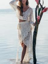 Hollow Flared Sleeve Blouses&Asymmetric Lace Skirt