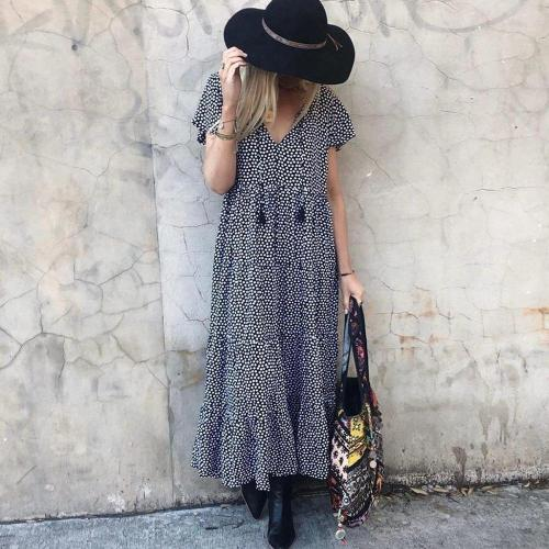 Boho Flutter Sleeves Polka Dot Midi Dress