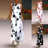 EBUYTIDE Women Maxi Long Dresses Vintage Casual Loose Sexy Round Neck Bohemia Floral Print Sleeveless Plus Size Female Vestidos