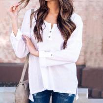 Casual Pure Colour Long Sleeve Loose Blouse