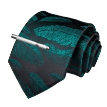 Quality Men Tie Green Black Novelty Wedding Tie For Men Dropshipping EBUYTIDE New Designer Hanky Cufflinks Clip Tie Set SJT-7193