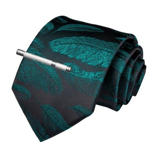 Quality Men Tie Green Black Novelty Wedding Tie For Men Dropshipping EBUYTIDE New Designer Hanky Cufflinks Clip Tie Set SJT-7193