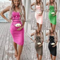 Women's Maternity Dress Sleeveless Fashion Cute Baby Printed Pregnant Dress Summer Pregnancy Dress Cartoon Letter Print Creative