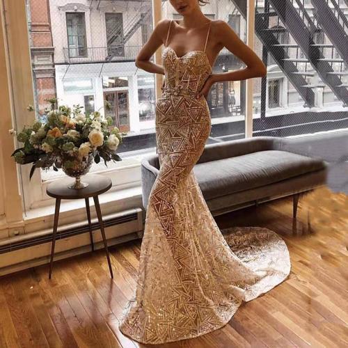 Women's Elegant See-Through Printed Color Sleeveless Sling Evening Dress