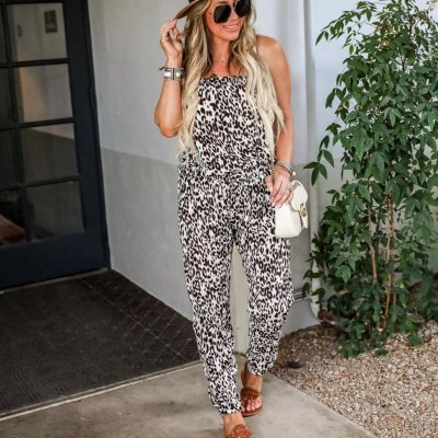 EBUYTIDE Sexy Strapless Printed Slim Fit Jumpsuit