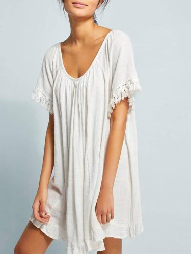 White Loose Short Sleeves Beach Cover-Ups