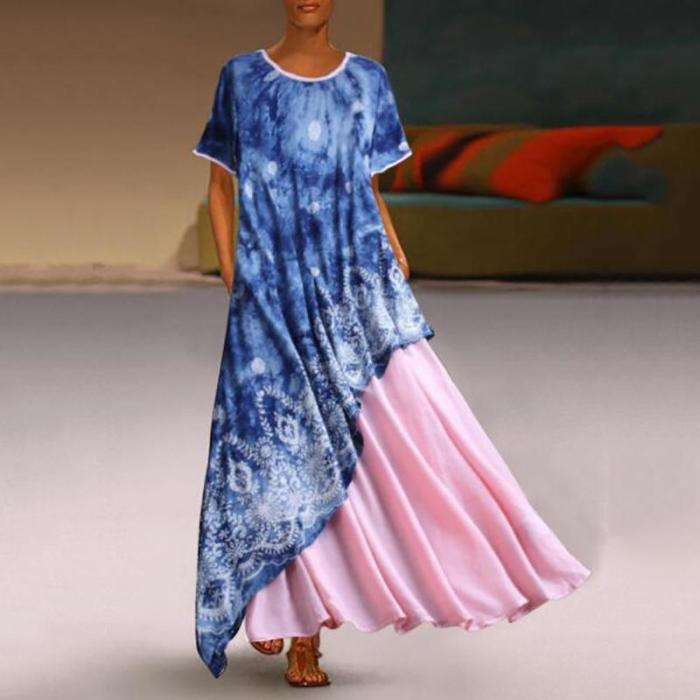 Round Collar Starry Sky Print Short Sleeve Irregular Dress