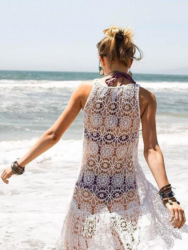 Lace Asymmetric Sleeveless See-through Cover-up