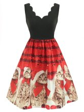 Red 1950s Christmas Cat Swing Dress