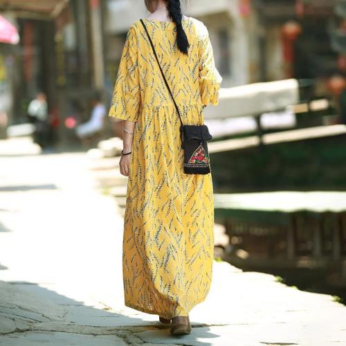 Sunny Yellow Cotton and Linen Dress