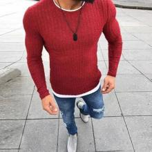 Casual Round Neck Pit Stripe Fake Two Pieces Sweater