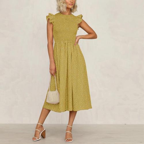 Holiday Print High Waist Midi Dress