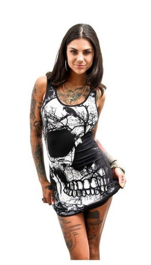 Tank Punk Rock Skull Print Mini Dress Women Grim Reaper Short Skeleton Office Ladies Metal Gothic Skinny Dresses Womens Clothing