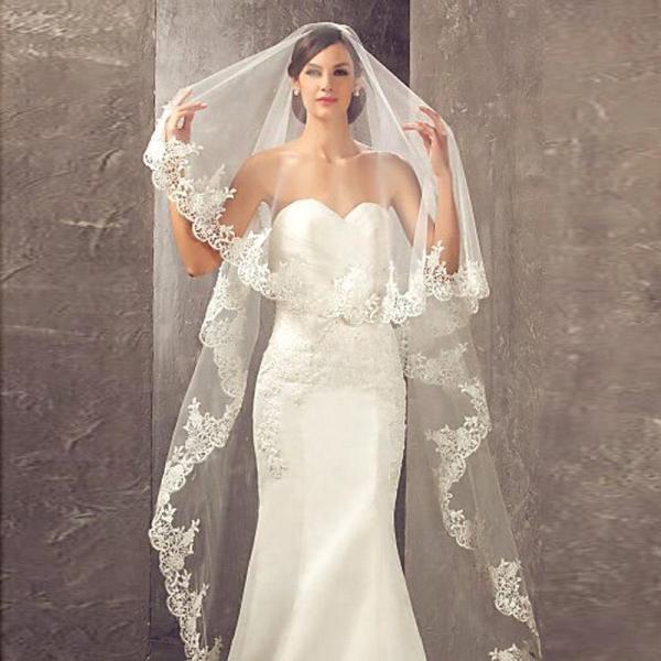 Elegant Lace Appliques One Layers 3*1.5M Long Veils Wedding Veils 2020 With Comb Wedding Accessories Bridal Veils Veu de noiva