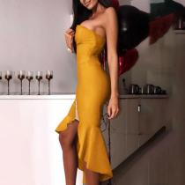 Sexy Tube Top Irregular Split Fishtail Dress