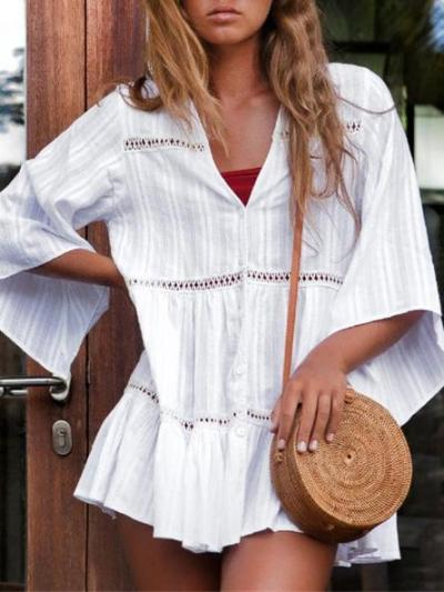 Casual Cotton Hollow Cover-up Swimwear