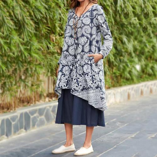V-Collar Print Long-Sleeved Casual Maxi Dress