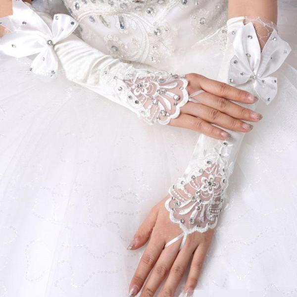 Ladies Wedding Long Fingerless Gloves Embroidery Floral Lace Patchwork Jewelry Rhinestone Bowknot Bridal Satin Mittens