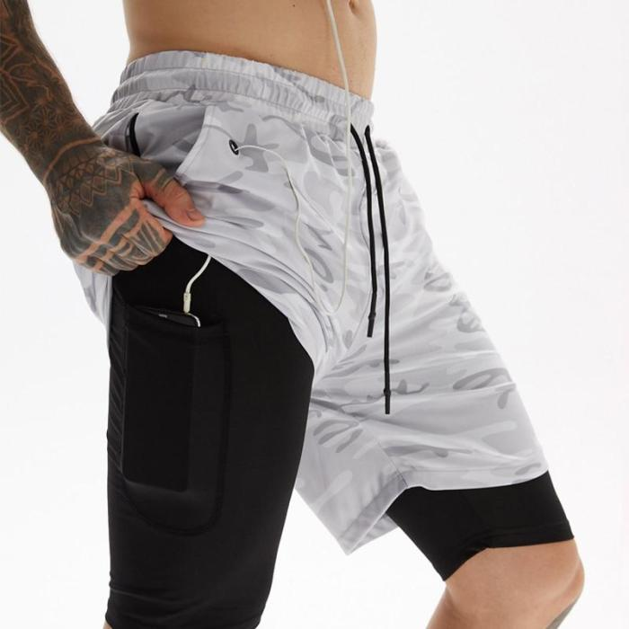 2020 Running Shorts Men Fitness Gym Training Sports Shorts Quick Dry Workout Gym Sport Jogging Double Deck Summer Men Shorts