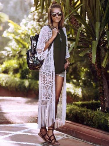 Lace Tasseled Bikini Swimwear Cover-up
