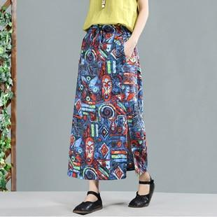 Side Split Tribal Linen Skirt