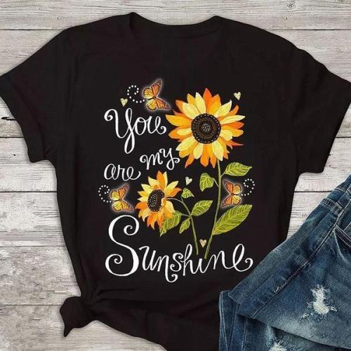 Sunflower Butterfly Printed Funny Short Sleeve Round Neck Summer T-shirt Top
