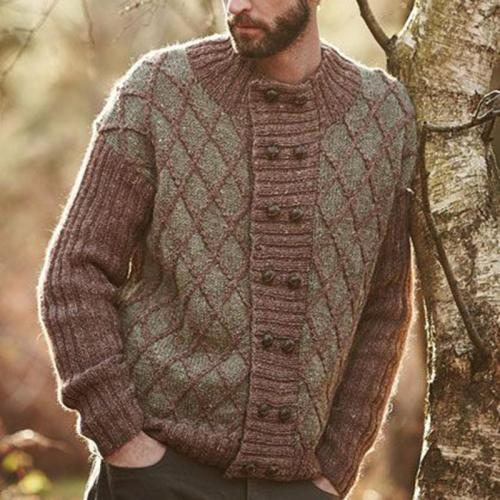 Casual round neck double-breasted men's knit sweater