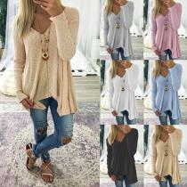Casual Solid Color Long Sleeve Knit Sweater