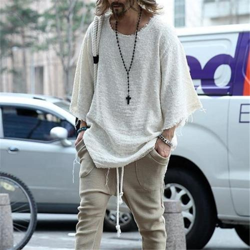 Solid Color Round Neck Knit Top