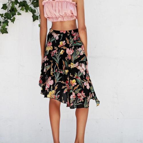 EBUYTIDE Casual Flower Print Asymmetrical mini women skirt Ruffles Split High waist chiffon summer holiday beach female skirts
