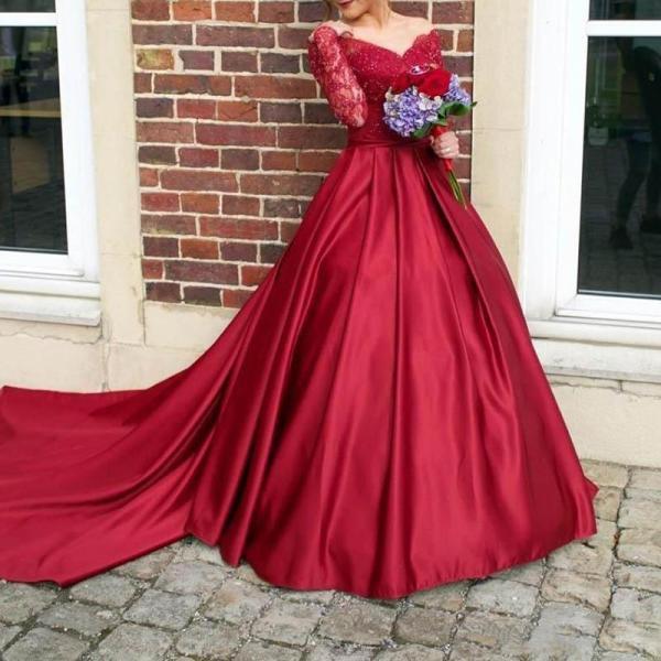 Sexy Retro V-Neck Lace Off-The-Shoulder Evening Dress