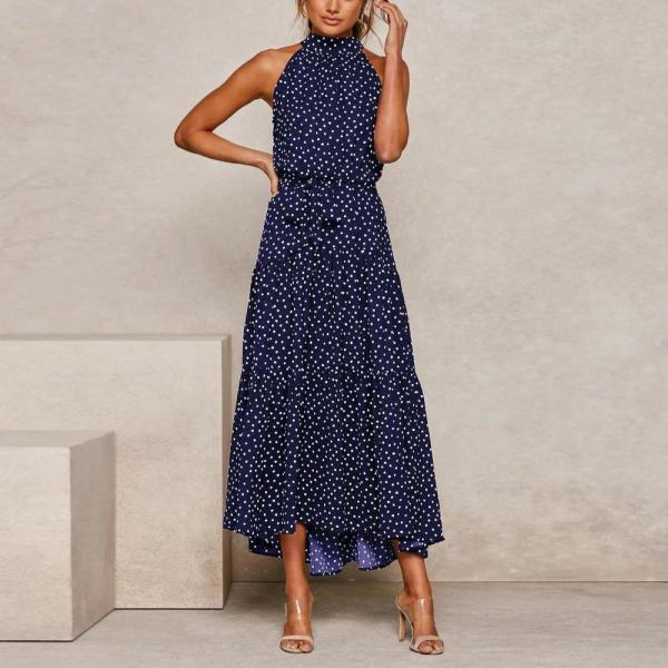 Vintage Printed Round Neck Sleeveless Slim Fit Maxi Dress