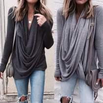 Irregular V-neck Drapped Long Sleeves Loose Long Blouse