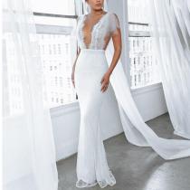 Sexy Deep V Lace Split Fishtail Dress