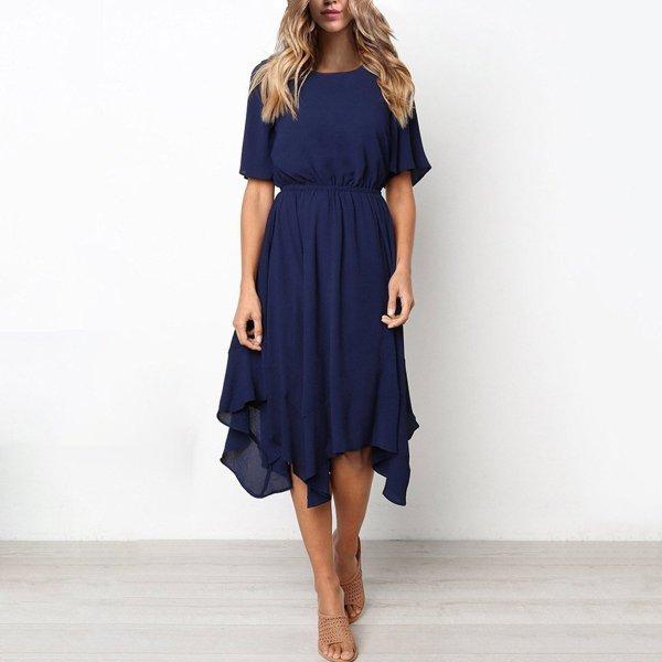 Short Sleeve Elastic Waist Chiffon Irregular Hem Swing Casual Dress