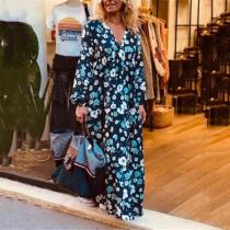 Bohemian Printed Color V-Neck Long Sleeve Loose Casual Maxi Dress