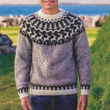 Grey Fawn Pattern Knit Icelandic Sweater TT004