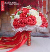 2020 New Women Wedding Bouquets with Ribbon Artificial Flower Bouquet 20*20 Cm Handmade Flowers for Wedding Party